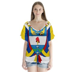 Coat of Arms of Colombia Flutter Sleeve Top