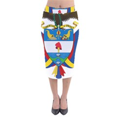 Coat of Arms of Colombia Velvet Midi Pencil Skirt