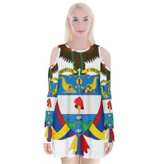 Coat of Arms of Colombia Velvet Long Sleeve Shoulder Cutout Dress