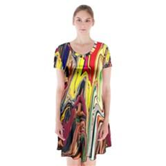 DEUX POUR UNE PARTAGE Short Sleeve V-neck Flare Dress