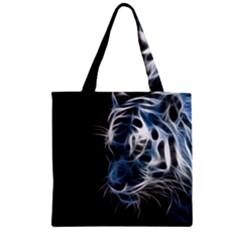 Ghost Tiger  Zipper Grocery Tote Bag