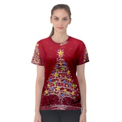 Colorful Christmas Tree Women s Sport Mesh Tee