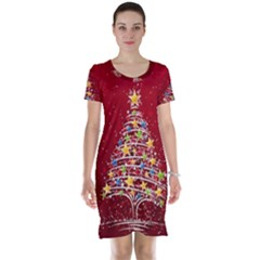Colorful Christmas Tree Short Sleeve Nightdress
