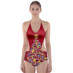 Colorful Christmas Tree Cut-Out One Piece Swimsuit