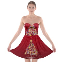 Colorful Christmas Tree Strapless Bra Top Dress