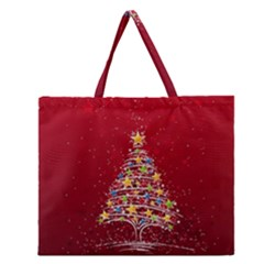 Colorful Christmas Tree Zipper Large Tote Bag