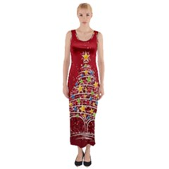 Colorful Christmas Tree Fitted Maxi Dress