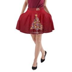Colorful Christmas Tree A-Line Pocket Skirt