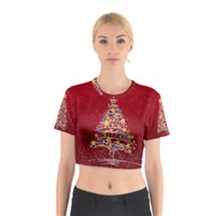 Colorful Christmas Tree Cotton Crop Top