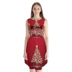 Colorful Christmas Tree Sleeveless Chiffon Dress