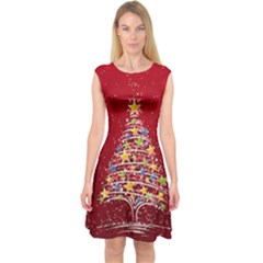 Colorful Christmas Tree Capsleeve Midi Dress