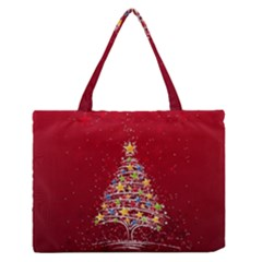 Colorful Christmas Tree Medium Zipper Tote Bag
