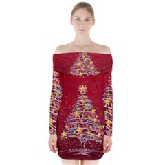 Colorful Christmas Tree Long Sleeve Off Shoulder Dress