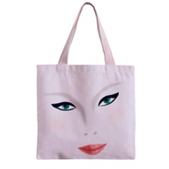 Face Beauty Woman Young Skin Zipper Grocery Tote Bag