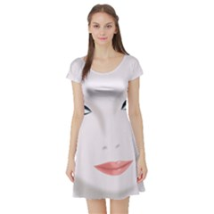 Face Beauty Woman Young Skin Short Sleeve Skater Dress