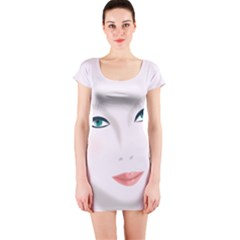 Face Beauty Woman Young Skin Short Sleeve Bodycon Dress