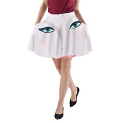 Face Beauty Woman Young Skin A-Line Pocket Skirt
