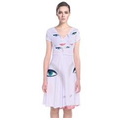 Face Beauty Woman Young Skin Short Sleeve Front Wrap Dress