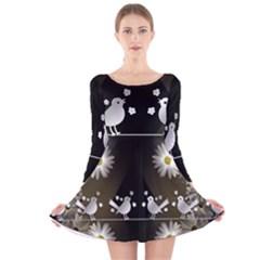 Daisy Bird Twitter News Gossip Long Sleeve Velvet Skater Dress