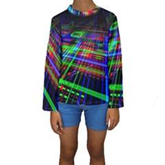 Electronics Board Computer Trace Kids  Long Sleeve Swimwear