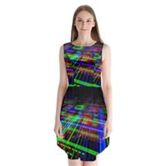 Electronics Board Computer Trace Sleeveless Chiffon Dress