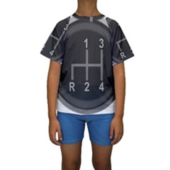 Gearshift Gear Stick Gear Engine Kids  Short Sleeve Swimwear