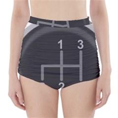 Gearshift Gear Stick Gear Engine High-Waisted Bikini Bottoms