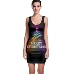 Merry Christmas Abstract Sleeveless Bodycon Dress
