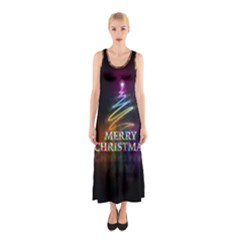 Merry Christmas Abstract Sleeveless Maxi Dress