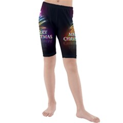 Merry Christmas Abstract Kids  Mid Length Swim Shorts