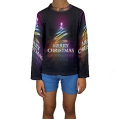 Merry Christmas Abstract Kids  Long Sleeve Swimwear