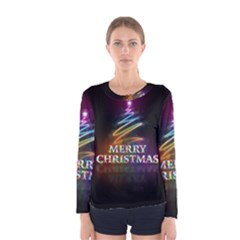 Merry Christmas Abstract Women s Long Sleeve Tee