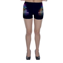 Merry Christmas Abstract Skinny Shorts