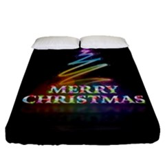 Merry Christmas Abstract Fitted Sheet (Queen Size)