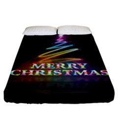 Merry Christmas Abstract Fitted Sheet (King Size)
