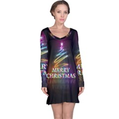 Merry Christmas Abstract Long Sleeve Nightdress
