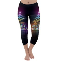 Merry Christmas Abstract Capri Winter Leggings