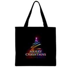 Merry Christmas Abstract Zipper Grocery Tote Bag