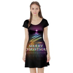 Merry Christmas Abstract Short Sleeve Skater Dress