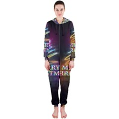 Merry Christmas Abstract Hooded Jumpsuit (Ladies)