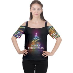 Merry Christmas Abstract Women s Cutout Shoulder Tee