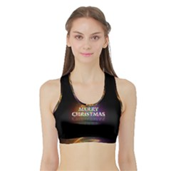 Merry Christmas Abstract Sports Bra with Border