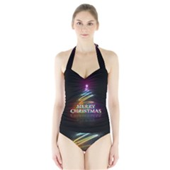 Merry Christmas Abstract Halter Swimsuit