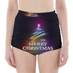 Merry Christmas Abstract High-Waisted Bikini Bottoms