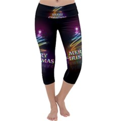 Merry Christmas Abstract Capri Yoga Leggings