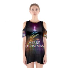 Merry Christmas Abstract Shoulder Cutout One Piece