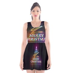 Merry Christmas Abstract Scoop Neck Skater Dress