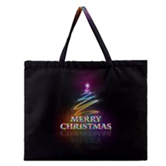 Merry Christmas Abstract Zipper Large Tote Bag