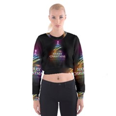 Merry Christmas Abstract Women s Cropped Sweatshirt
