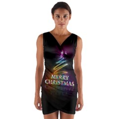 Merry Christmas Abstract Wrap Front Bodycon Dress